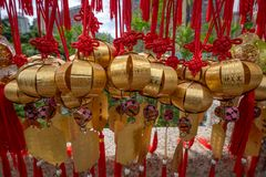 The Buddhist Prosperity Bell. Hong kong - May 5,2018 : The Buddhist Prosperity Bell at Wong Tai Sin Temple, Hong Kong stock image