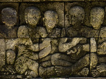 Buddhist relief in Borobodur temple Stock Photo