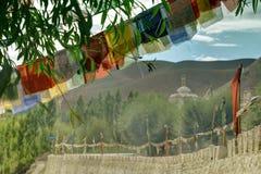 Buddhist religious flags, Mulbekh, Ladakh, Jammu and Kashmir, India Stock Images