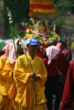 Buddhist religious ritual. Buddhist follow a religion rituals in the city of Solo, Central Java, Indonesia royalty free stock image