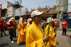 Buddhist religious ritual. Buddhist follow a religion rituals in the city of Solo, Central Java, Indonesia royalty free stock photos