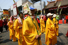 Buddhist religious ritual. Buddhist follow a religion rituals in the city of Solo, Central Java, Indonesia royalty free stock photo