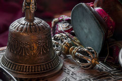 Buddhist religious Vajra Dorje and bell Stock Photos