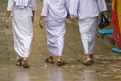 Buddhist religious women walking Stock Photo
