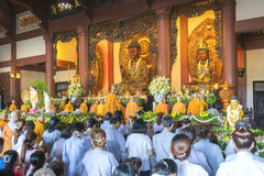 Buddhist revered ceremony in temple beautiful architecture Royalty Free Stock Photo