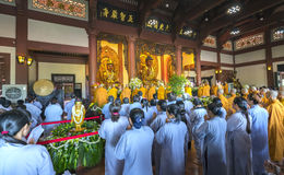 Buddhist revered ceremony in temple beautiful architecture Stock Photos