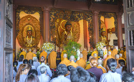 Buddhist revered ceremony in temple beautiful architecture Royalty Free Stock Image