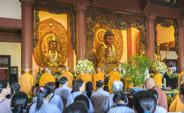 Buddhist revered ceremony in temple beautiful architecture Stock Photography