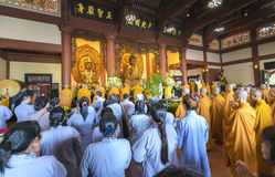 Buddhist revered ceremony in temple beautiful architecture Royalty Free Stock Photography