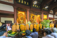 Buddhist revered ceremony in temple beautiful architecture Royalty Free Stock Photos