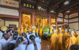 Buddhist revered ceremony in temple beautiful architecture Stock Image
