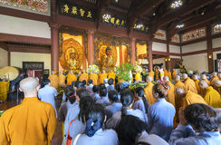 Buddhist revered ceremony in temple beautiful architecture Stock Photo