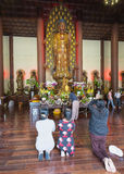 Buddhist revered ceremony in temple beautiful architecture Royalty Free Stock Images