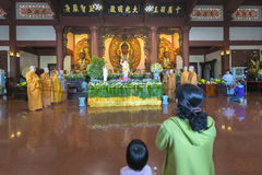 Buddhist revered ceremony in temple beautiful architecture Stock Images