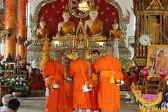 Buddhist rituals. Priests are ordained Baptist Men to Thailand royalty free stock photography