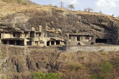 Buddhist Rock Temples at Ellora Caves Royalty Free Stock Images