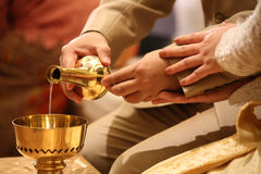 Buddhist's grail pouring water Royalty Free Stock Photos