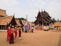 Buddhist Sabbath. People go to the temple on new year holiday Stock Image