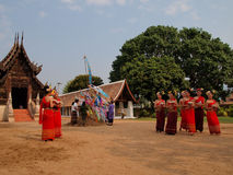 Buddhist Sabbath. People go to the temple on new year holiday Stock Photography