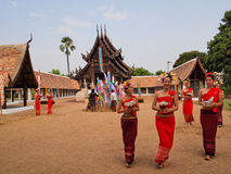 Buddhist Sabbath. People go to the temple on new year holiday Royalty Free Stock Photos