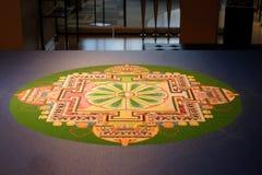Buddhist Sand Mandala Displayed on Table Royalty Free Stock Images