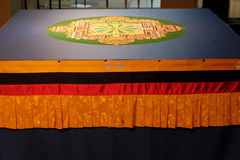 Buddhist Sand Mandala Displayed on Table Royalty Free Stock Photo