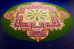 Buddhist Sand Mandala Displayed on Table Royalty Free Stock Photos