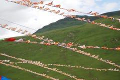 Buddhist script flags stock photo