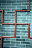 Buddhist shape symbol. Gate with a brick wall in grey stock images
