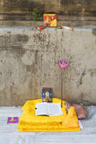Buddhist Shrine. An area in the Mahabodhi temple in Bodhgaya, India used for studying meditation and buddhism royalty free stock photo