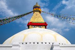 Buddhist shrine Boudhanath Stupa Royalty Free Stock Photo