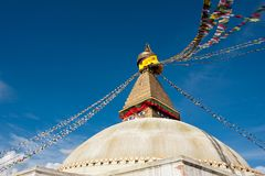 Buddhist Shrine Boudhanath Stupa. Nepal Stock Photo
