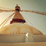 Buddhist shrine Boudhanath Stupa - vinatge filter. Royalty Free Stock Image