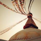 Buddhist shrine Boudhanath Stupa - vintage filter. Stupa with Buddha wisdom eyes. Stock Image