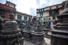 Buddhist Shrine Swayambhunath Stupa. Nepal. Architecture Details in Buddhist Shrine Swayambhunath Stupa. Monkey Temple Nepal, Kathmandu Royalty Free Stock Image