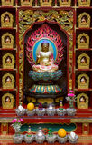 Buddhist shrine. Shrine in Buddhist shrine wall inside in the Tooth Relic Temple in Chinatown, Singapore Royalty Free Stock Images