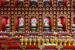 Buddhist shrine wall. Inside in the Tooth Relic Temple in Chinatown, Singapore Royalty Free Stock Photography