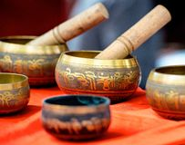 Buddhist singing bowl metall  vases group Royalty Free Stock Photo
