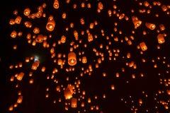 Buddhist sky lanterns firework festival of lights. Buddhist ceremony: Sky lanterns firework festival of lights, Loy Krathong and Yee Peng Festival in Chiangmai Royalty Free Stock Photo