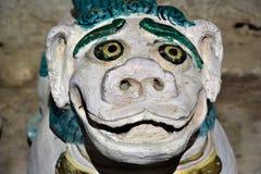 Buddhist snow lion, an old stone sculpture from Zanskar, Tibet. Royalty Free Stock Photography