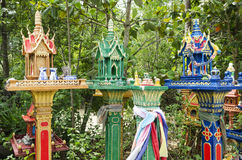 Buddhist spirit houses in ko phangan thailand Royalty Free Stock Image