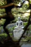 Buddhist statue. Buddha statue with smaller blurred statue in foreground royalty free stock photography