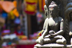 Buddhist Statue. On the colorful streets of Kathmandu Royalty Free Stock Images