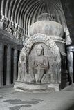 Buddhist Statue Inside Ancient Rock Temple Royalty Free Stock Image