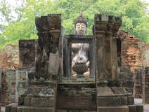 Buddhist statue. In the old church royalty free stock photography