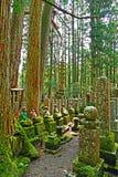 ฺBuddhist Statues insiade Okunoin Cemetary at Koyasan. Mountains of Buddhist relics, replicas and statues at Okunoin Cemetary inside Mount Koya Stock Photography