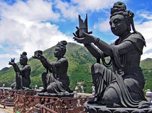 Buddhist statues in Ngong Ping on the island of Lantau in Hong Kong Stock Photography