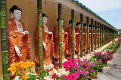 Buddhist statues outside temple Royalty Free Stock Images