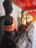 Buddhist statues. In wat pho Bangkok Royalty Free Stock Photo