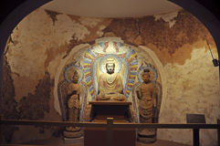 Buddhist Stone Carving. Stone carving of Buddist grottoes in Gansu Museum, Lanzhou, Gansu province of China.Visiting Gansu Provincial Museum is a must for every Stock Photos